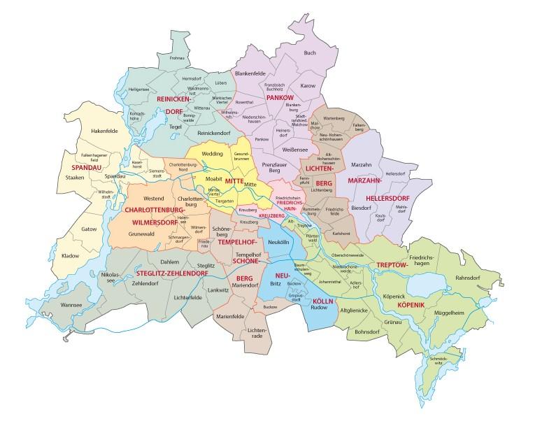 Karte der Bezirke von Berlin: In der nachfolgenden Übersicht der Quadratmeterpreise für Immobilien in Berlin erkennt man die Mieten für Wohnungen in den verschiedenen Stadtbezirken. Die Bezirke im Zentrum hat es besonders stark erwischt. (#4)